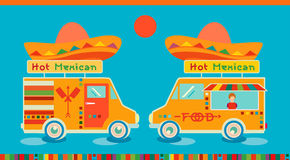 Mexican food icon food car. Hot fast food symbol, auto restaurant, mobile kitchen, hot fastfood, spicy food. Royalty Free Stock Photo