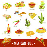 Mexican Food Icon Set Royalty Free Stock Photo