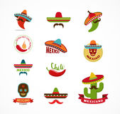 Mexican food icons, menu elements for restaurant Royalty Free Stock Images