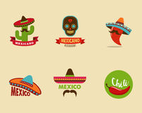 Mexican food icons, menu elements for restaurant Stock Photo