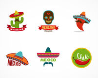 Mexican food icons, menu elements for restaurant. And cafe Royalty Free Stock Photo