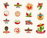 Mexican food icons, menu elements for restaurant Royalty Free Stock Photo