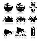 Mexican food icons - tacos, nachos, burrito, quesadilla Stock Images