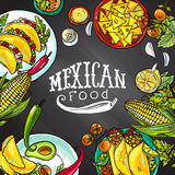 Mexican food. Illustration on the chalkboard for your design stock illustration