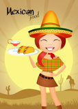 Mexican food. Illustration of Mexican girl with tacos Stock Images