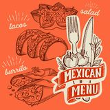 Mexican food illustrations - burrito, tacos, quesadilla for restaurant. royalty free stock photography
