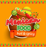 Mexican food label. Mexican food label with traditional spicy , maracas and sombrero vector illustration Stock Photos