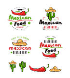 Mexican food labels, badges and design elements. Hot peppers, sombrero and cactus drawings in flat style. Color print on white background royalty free illustration