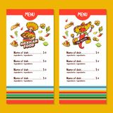 Mexican food. The layout of the menu of the Mexican restaurant vector illustration