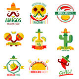 Mexican food logo emblems vector poster on white royalty free illustration