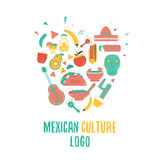 Mexican food  logo in heart shape for emblems and badges.  Sombrero and tequila bottle, guitar element, vector Stock Photography