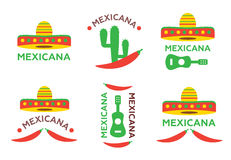 Mexican food logo, labels, emblems and badges set. Sombrero and tequila bottle, guitar element Stock Photo