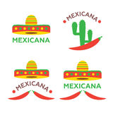 Mexican food logo, labels, emblems and badges set. Sombrero and tequila bottle, guitar element,  illustration Stock Image