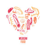 Mexican food logo restaurant badge ethnic cuisines Royalty Free Stock Photo