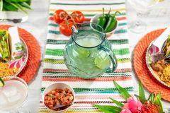 Mexican food and margaritas for Cinco de Mayo. Festive colorful tabletop with tacos and margaritas to celebrate Cinco de Mayo