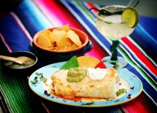 Mexican food 5. A mexican meat burritos platter Stock Photos