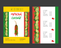 Mexican food menu Stock Photos