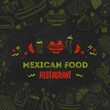 Mexican food menu template. Vector vintageillustration for , poster on dark background. with place  text Royalty Free Stock Image
