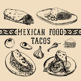 Mexican food menu in vector. Burritos, nachos, tacos illustrations. Hipster snack bar, fast-food restaurant icons. Mexican food menu in vector. Burritos, nachos Royalty Free Stock Images