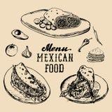 Mexican food menu in vector. Burritos, nachos, tacos illustrations. Hipster snack bar, fast-food restaurant icons. Mexican food menu in vector. Burritos, nachos Royalty Free Stock Photos