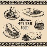 Mexican food menu in vector. Burritos, nachos, tacos illustrations. Hipster snack bar, fast-food restaurant icons. Mexican food menu in vector. Burritos, nachos Stock Image