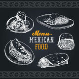 Mexican food menu in vector. Burritos, nachos, tacos illustrations. Hipster snack bar, fast-food restaurant icons. Mexican food menu in vector. Burritos, nachos Royalty Free Stock Photography