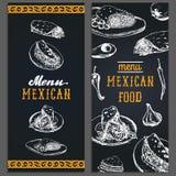 Mexican food menu in vector. Burritos, nachos, tacos illustrations. Hipster snack bar, fast-food restaurant icons. Mexican food menu in vector. Burritos, nachos Royalty Free Stock Image