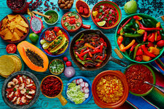 Mexican food mix colorful background Royalty Free Stock Image