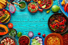 Mexican food mix colorful background Mexico. Mexican food mix copyspace frame colorful background Mexico Stock Photo