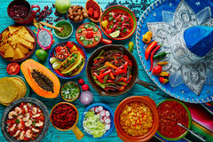 Mexican food mix colorful background. Mexico and sombrero Stock Image