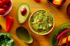 Mexican food mixed guacamole chili and avocado Stock Photos