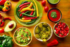 Mexican food mixed guacamole nachos chili sauce Royalty Free Stock Image