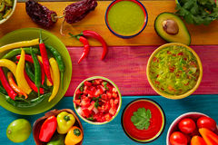 Mexican food mixed guacamole nachos chili sauce Stock Images
