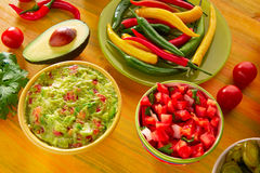Mexican food mixed guacamole nachos chili sauce Stock Photo
