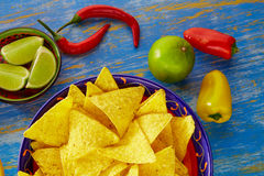 Mexican food nachos with guacamole chili peppers Royalty Free Stock Photos