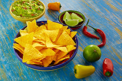 Mexican food nachos with guacamole chili peppers Royalty Free Stock Images