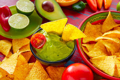 Mexican food nachos and guacamole chili sauce Royalty Free Stock Photography