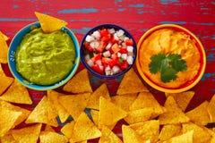 Mexican food nachos guacamole pico gallo cheese Stock Image