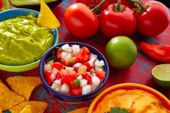 Mexican food nachos guacamole pico gallo cheese Royalty Free Stock Images