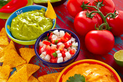 Mexican food nachos guacamole pico gallo cheese Royalty Free Stock Photography