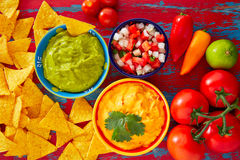 Mexican food nachos guacamole pico gallo cheese Royalty Free Stock Photography