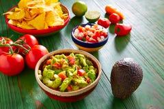 Mexican food nachos guacamole pico gallo chili Stock Photos