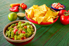 Mexican food nachos guacamole pico gallo chili Royalty Free Stock Images