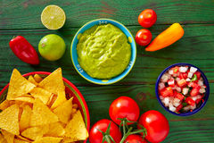 Mexican food nachos guacamole pico gallo chili Stock Images