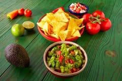 Mexican food nachos guacamole pico gallo chili Stock Image