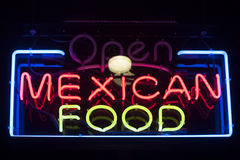 Mexican food neon sign Stock Photo