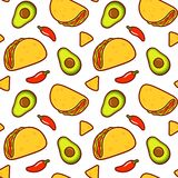 Mexican food pattern. Seamless Mexican food pattern. Taco, avocado, red chili peppers and nachos on white background. Repeating texture vector illustration in stock illustration