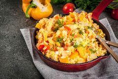 Mexican food recipes Revoltillo de Huevos, Scrambled Eggs a la Dominicana Stock Images
