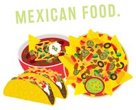 Mexican food restaurant illustration vector stock image