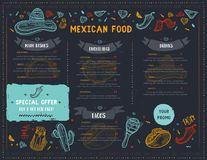 Mexican Food Restaurant menu, template design with sketch icons of Chili pepper, sombrero, tacos, nacho, burrito. Chalkboard Food flyer for promotion, site royalty free illustration